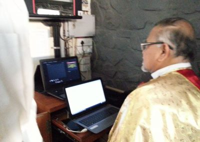 Fr. Barthol inaugrating the website at the Feast Mass 4th Feb 2018